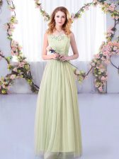 Designer Yellow Green Empire Scoop Sleeveless Tulle Floor Length Side Zipper Lace and Belt Vestidos de Damas
