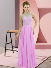 Lilac Chiffon Zipper Prom Party Dress Sleeveless Floor Length Beading