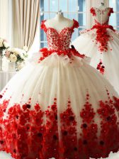 Discount Sleeveless Tulle Brush Train Zipper 15 Quinceanera Dress in Red with Hand Made Flower