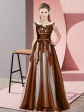 Popular Floor Length Empire Sleeveless Brown Dama Dress Zipper
