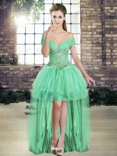 High Low Apple Green Prom Evening Gown Off The Shoulder Sleeveless Lace Up