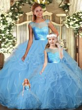 New Arrival Floor Length Ball Gowns Sleeveless Baby Blue Quinceanera Gown Backless