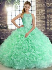 Dramatic Apple Green Lace Up Quince Ball Gowns Beading Sleeveless Floor Length