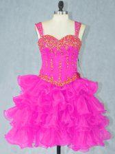 Fuchsia Lace Up Homecoming Dress Beading and Ruffled Layers Sleeveless Mini Length