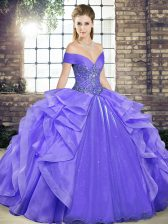 Nice Off The Shoulder Sleeveless Lace Up Ball Gown Prom Dress Lavender Organza