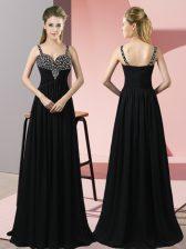 Floor Length Black Homecoming Dress Chiffon Sleeveless Beading