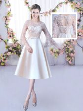 Top Selling Champagne Scoop Lace Up Lace and Belt Damas Dress 3 4 Length Sleeve