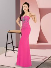 Exceptional Hot Pink Prom Party Dress Prom and Party with Beading Sweetheart Sleeveless Zipper