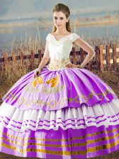 Lilac Sleeveless Floor Length Embroidery and Ruffled Layers Lace Up Quinceanera Gown