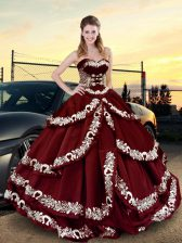 High Quality Floor Length Ball Gowns Sleeveless Wine Red Quince Ball Gowns Lace Up