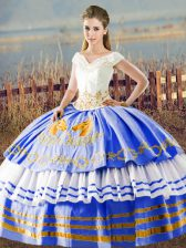 Best Selling Sleeveless Lace Up Asymmetrical Embroidery and Ruffled Layers Quinceanera Dress