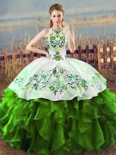 Exceptional Green Ball Gowns Embroidery and Ruffles Quince Ball Gowns Lace Up Sleeveless Floor Length
