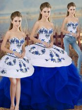 Sleeveless Floor Length Embroidery and Ruffles and Bowknot Lace Up Quinceanera Dresses with Royal Blue