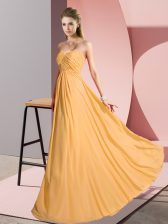 Sleeveless Chiffon Floor Length Lace Up Prom Gown in Gold with Ruching