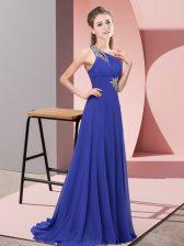 Captivating Purple Sleeveless Beading Floor Length Prom Party Dress
