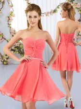 Chiffon Sweetheart Sleeveless Lace Up Ruching Quinceanera Court of Honor Dress in Watermelon Red