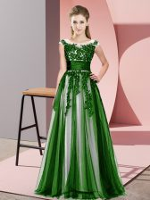 High Class Green Court Dresses for Sweet 16 Wedding Party with Beading and Lace Scoop Sleeveless Zipper