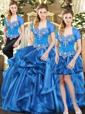 Best Selling Blue Lace Up Sweet 16 Quinceanera Dress Beading and Ruffles Sleeveless Floor Length
