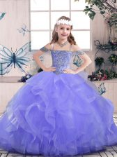 Great Lavender Sleeveless Beading and Ruffles Floor Length Little Girls Pageant Dress