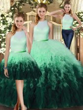 Custom Fit Multi-color Backless Quinceanera Gowns Ruffles Sleeveless Floor Length