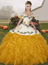 Elegant Gold Organza Lace Up Vestidos de Quinceanera Sleeveless Floor Length Embroidery and Ruffles
