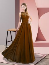 Sleeveless Floor Length Lace Zipper with Brown