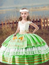 Beauteous Sleeveless Floor Length Embroidery Lace Up Kids Formal Wear with