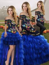 Colorful Embroidery and Ruffled Layers Quinceanera Dresses Blue And Black Lace Up Sleeveless Floor Length