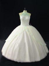 Graceful Floor Length White Sweet 16 Quinceanera Dress Tulle Sleeveless Beading