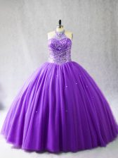 Glittering Purple Sleeveless Tulle Lace Up 15 Quinceanera Dress for Sweet 16 and Quinceanera