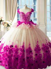 Custom Design Sleeveless Tulle Brush Train Zipper 15th Birthday Dress in Fuchsia with Hand Made Flower