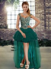 Luxury Straps Sleeveless Organza Prom Dress Beading and Ruffles Lace Up