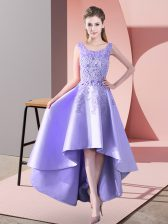 Inexpensive Lavender Sleeveless High Low Lace Zipper Court Dresses for Sweet 16