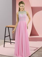 Delicate Floor Length Rose Pink Dress for Prom Chiffon Sleeveless Beading