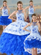 Attractive Blue And White Sleeveless Floor Length Embroidery and Ruffles Lace Up Ball Gown Prom Dress