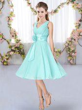 Aqua Blue Empire V-neck Sleeveless Chiffon Knee Length Lace Up Hand Made Flower Quinceanera Court Dresses