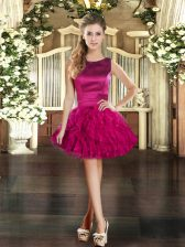 Inexpensive Sleeveless Mini Length Ruffles Lace Up Dress for Prom with Fuchsia
