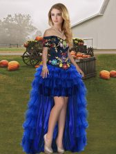 Elegant High Low A-line Sleeveless Royal Blue Dress for Prom Lace Up