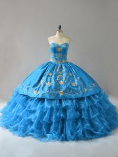 Sumptuous Blue Quince Ball Gowns Sweetheart Sleeveless Lace Up
