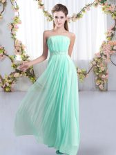 Sophisticated Beading Quinceanera Court of Honor Dress Aqua Blue Lace Up Sleeveless Sweep Train