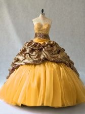 Inexpensive Gold Lace Up V-neck Beading and Pick Ups Quinceanera Dresses Organza Sleeveless Brush Train