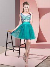 Simple Turquoise Bateau Neckline Lace Dama Dress for Quinceanera Sleeveless Zipper