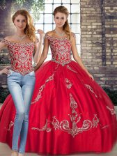Custom Designed Red Off The Shoulder Neckline Beading and Embroidery 15th Birthday Dress Sleeveless Lace Up