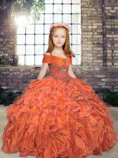Trendy Orange Straps Lace Up Beading Kids Formal Wear Sleeveless