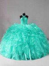 Enchanting Halter Top Sleeveless Organza Quinceanera Dress Beading and Ruffles Brush Train Zipper