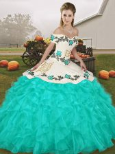 Modern Turquoise Ball Gowns Embroidery and Ruffles Quinceanera Gown Lace Up Organza Sleeveless Floor Length