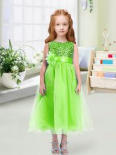 Organza Zipper Flower Girl Dresses for Less Sleeveless Tea Length Sequins and Hand Made Flower