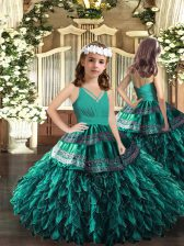 Best Organza V-neck Sleeveless Zipper Appliques and Ruffles Little Girls Pageant Dress in Turquoise