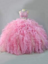 Nice Pink Sleeveless Beading and Ruffles Floor Length Sweet 16 Dresses