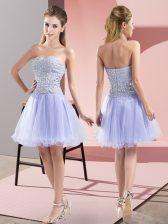 Fantastic Sweetheart Sleeveless Zipper Evening Dress Lavender Tulle